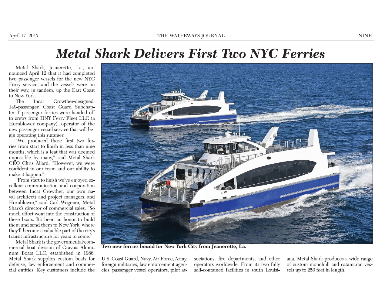METAL SHARK FERRIES